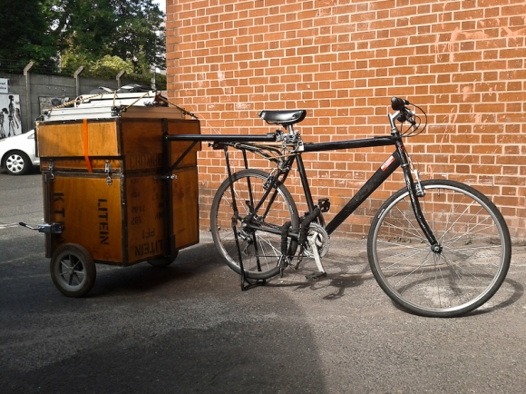 Bike Trailer Darkbox hitched to bike and ready to explore.
